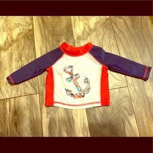 Nautical themed rashguard baby girls top